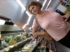 Beautiful mature lady&039;s tits at the market
