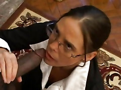 Brunette cougar loves to choke on a bbc