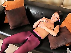 Purple mom got injured pantyhose on hot pornstar
