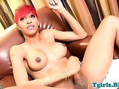 Redhead ebony shemale wanking off her bbc