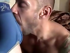 Tattooed m9m hard swallows dude cock