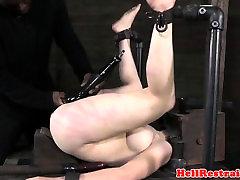 Restrained busty sub pussytoyed interracially