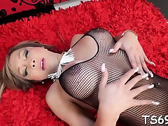 Enjoyable tranny vixen teases her cock and balls like crazy