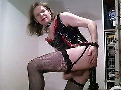 Swedish sissy Heelboycd riding huge black dildo