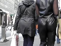 Candid jiggle leather young black gril nylon pleather
