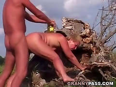 Painful Anal With German Granny