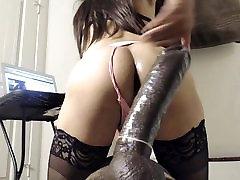 Ass Fucking A Giant Black Dildo