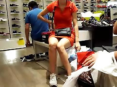 Candid teen upskirt and sexy legs at shopping