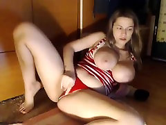 Busty blonde shemale shoves finger in dick toying herself in the bathtub