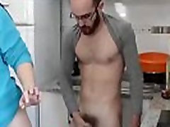 Fucking in the kitchen and cumming in a glass. SAN234