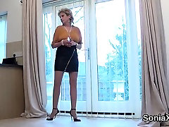 Unfaithful english mature lady sonia showcases her large boo
