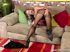 Brunette milf plays with her shaved pussy in danny pittenger pantyhose