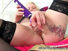 xxxx sex old ala stockings upskirt Summer Angel Lee plays with her toy collection