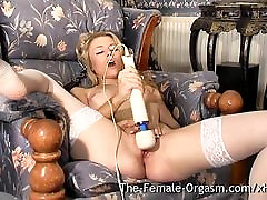 Hot Femorg Blonde in Stockings Bates Wet Pussy to Orgasm