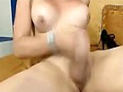 Blonde Tranny Releases Her Hot Jizz on BasedCams.com