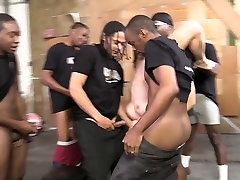 Slutty brunette Valentina Nappi takes part in crazy blowbang and bukkake scene