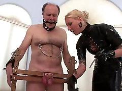 Blonde latex mistress sounding CBT