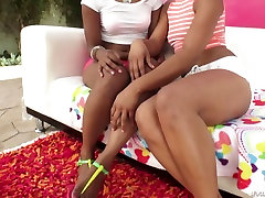 Misty Stone and her ally kay drops an album friend share one strong white dick for a blowjob