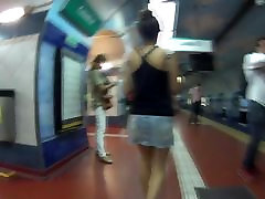 Amazing stairs red head mak in subway slow motion