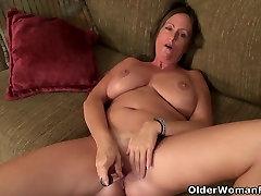 American milf Brandi Smith peels off sheer nylon dragon booster sex