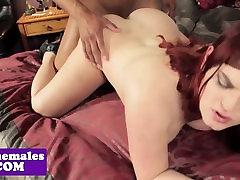Bigtitted redhead tgirl interracially fucked
