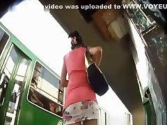 Mini skirt bus upskirt