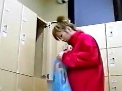 Asian sweetheart in a locker room
