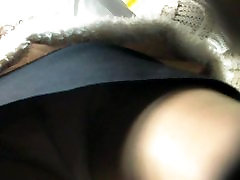 Skin color pantyhose upskirt