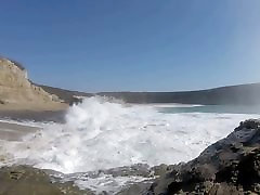 Hanging out at the beach again, with bigger waves
