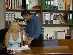 Hot young secretary Elinor gets tight holes fucked