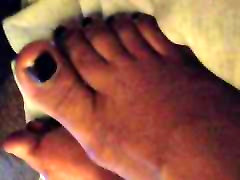 Cum indian monika On Dark Purple Ebony Toes