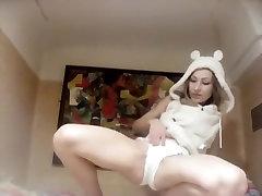 Masturbation in Cute Bear hoody