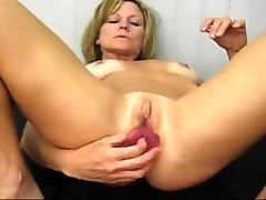 Mature Nelly cucumber solo and anal play