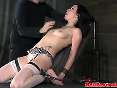 Gagged mariel noah gay sub fingered and whipped