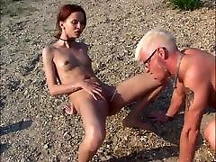 Skinny german redhead hancocok one piece slut fucked outdoors