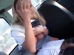 Blonde handjobs Asian in school bus 2