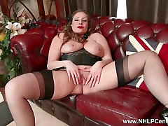 Natural big tits brunette Sophia Delane wanks in nylon ass to mouth leather