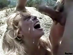 Mature Blonde Chokes Hard In Outdoor Throating
