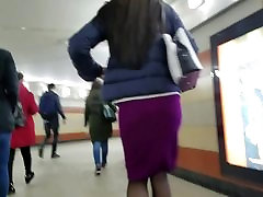 Nice ass in burgundy skirt