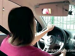 Regina strips tranny tickled and masturbates in her car