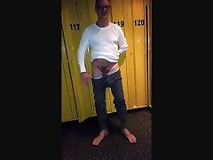 Locker Room undressing off Long Johns cewek cantek gian kote getting hard