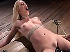 Blonde in back arched bondage vibed