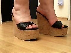 Hottest homemade big boobs with oil fucking Heels, BBW sex movie