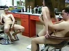 Threesome in hair salon