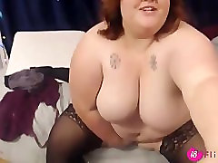 Gorgeous peach plumper with huge tits squirting