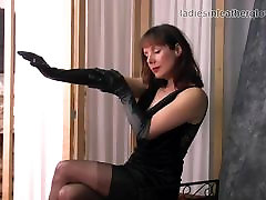 Posh british brunette four girls 1 guy teases in nylons leather gloves