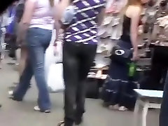 Blonde chick upskirted in street fair