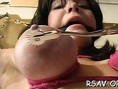Mature bitch gets nipple and fur pie pinching holedcom toys style