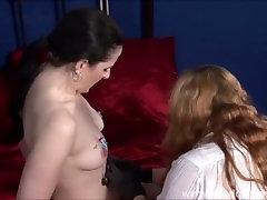 Suffering lesbian slave Carolines needle torture and extreme femdom bdsm