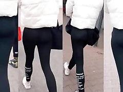 sexy girl ass in black leggings